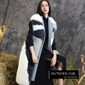 Popular Style Winter Woolen Fur Gilet Top Quality Real Fox Fur Vest With Woolen Back Ladies Import Fox Fur Waistcoat