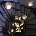 14 14.7 Seven Chandelier Suspension Light Meteor Shower Bubble Glass Ball Lamp Lighting Fixture for Dining Room Staircase