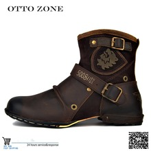 OTTO ZONE Men's Autumn/Winter Martin Boots Genuine Cow Leather High Top Ankle Boots Cotton-Padded Leather Shoes Size EU 38-45