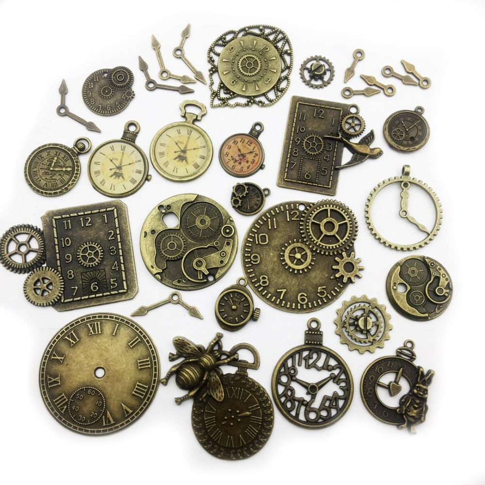 New 5pc Mixed Gear Clock Antique Bronze Colored Pendant Mixed Size Gears Parts