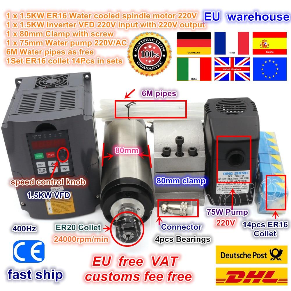 DE ship 1 5KW Water Cooled Spindle Motor ER16 1 5kw VFD 220V ER16 collet set