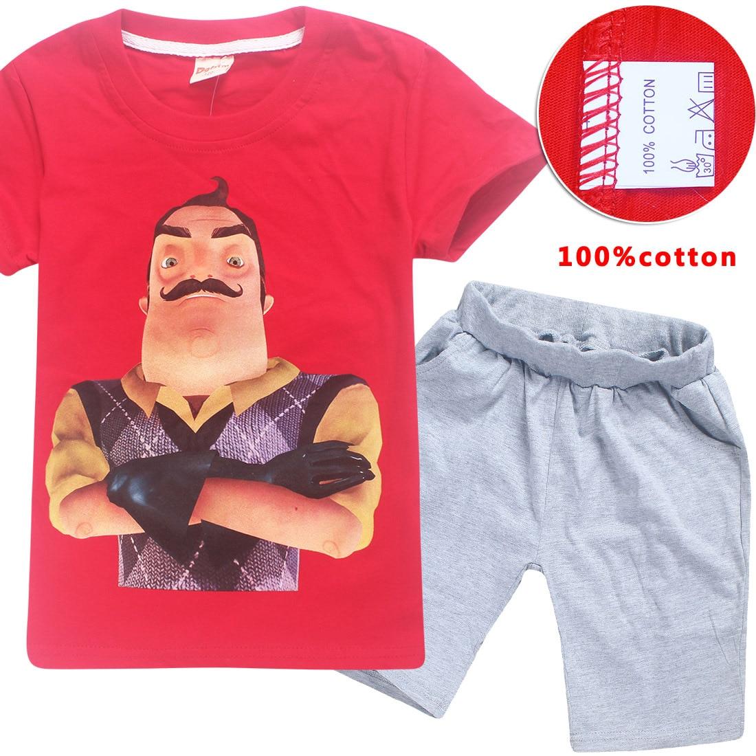 Z&Y 6-14Years Nununu 2018 The Hello Neighbor Clothing Set Boys Clothes Summer Girl Shirt Shorts Outfit Sportsuits 2pcs Shirt Set