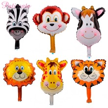 PATIMATE 6pcs/lot Animal Head Foil Balloons Lion Monkey Helium Balloon Safari Animals Kids Toys For Baby  Party Deco