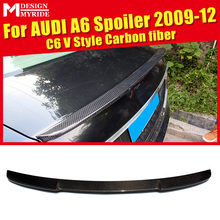 For Audi A6 A6A A6Q Carbon Rear Spoiler C6 V Style Carbon rear spoiler Rear trunk Lid Boot Lip wing car styling Decoration 09-12 for audi a6 c7 4g carbon rear spoiler s6 style a6 car carbon fiber rear spoiler rear trunk wing gloss black finish 2012 up