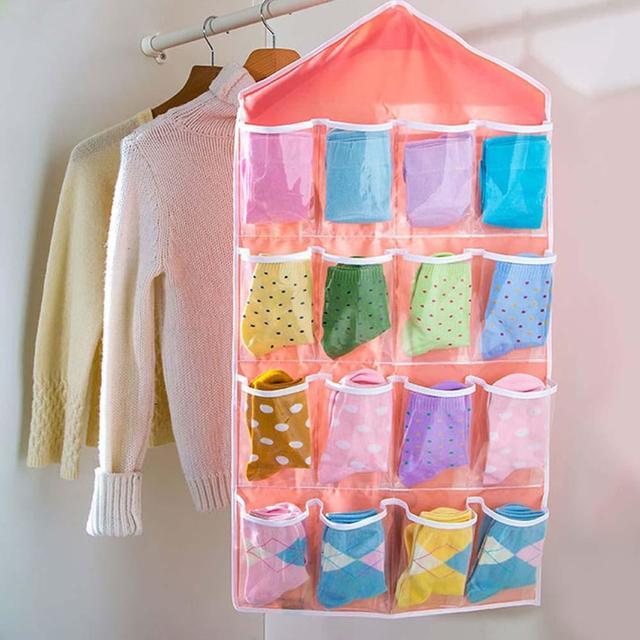 16 Pocket Over Door Hanging Bag Shoe Rack Hanger Storage Tidy Organizer  Pink Closet Shelves