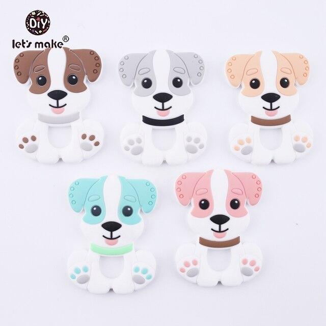 Lassen sie Machen Grau Farbe DIY Pflege Anhänger Zahnen Halskette, Der Silikon Cartoon Hund Baby Beißring 10pc Silikon Spielzeug beißringe