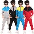 New spring autumn outwear children 2 pcs suit boys clothing set hoodies+pants baby set kids sport suit Retail 4-11 years