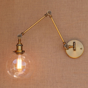 Image 3 - 레트로 황동 조정 가능한 긴 팔 벽 램프 빈티지 LED 계단 빛 로프트 스타일 산업 벽 Sconce Apliques Murale Arandela