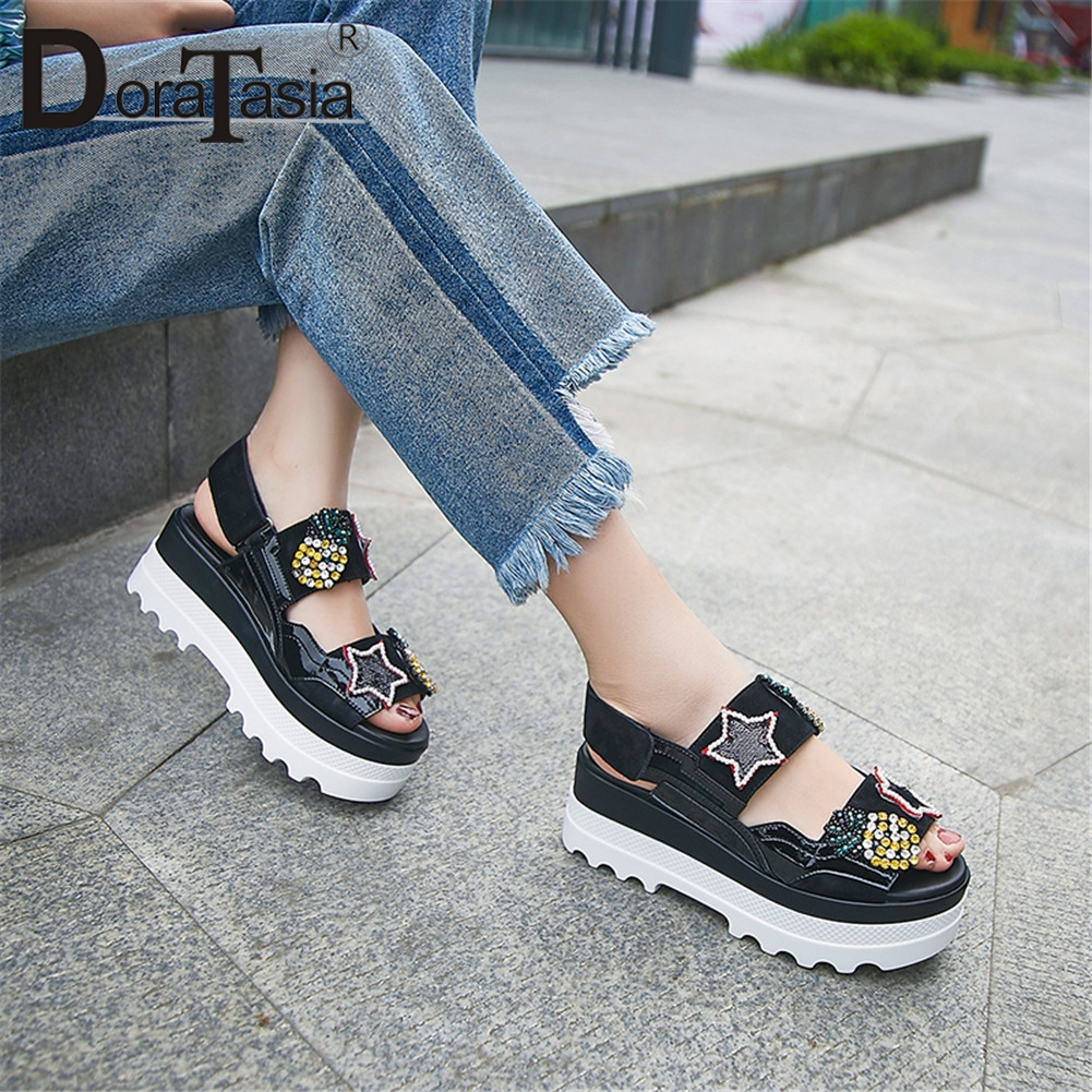 DORATASIA New Fashion INS Hot Genuine Leather Crystal Ladies Wedges High Heels Platform Shoes Woman Casual Summer Sandals 2019DORATASIA New Fashion INS Hot Genuine Leather Crystal Ladies Wedges High Heels Platform Shoes Woman Casual Summer Sandals 2019