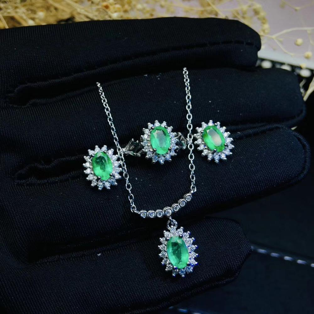 Natural green emerald ring Pendant Earrings Natural Gemstone Jewelry Set S925 Silver fashion Diana Smiling Women party jewelry