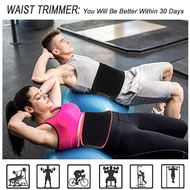 Waist Trimmer Sweat Belt Weight Loss Waist Trainer Slimming Belt for Men and Women Fat Burner Low Back Support Mens Shaper USPS 1