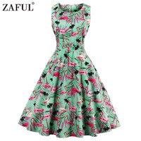 ZAFUL Plus Size 4XL Women Retro Dress 50s 60s Vintage Rockabilly Swing Feminino Vestidos Floral Pattern