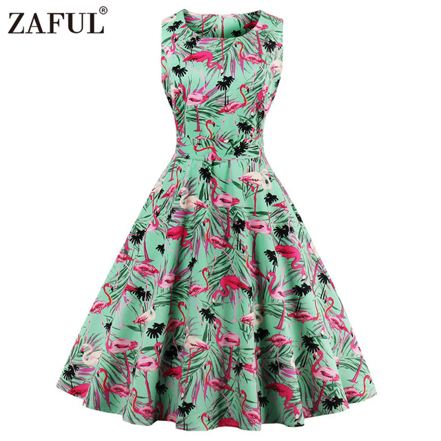 ZAFUL Plus Size 4XL Women Retro Dress 50s 60s Vintage Rockabilly ...