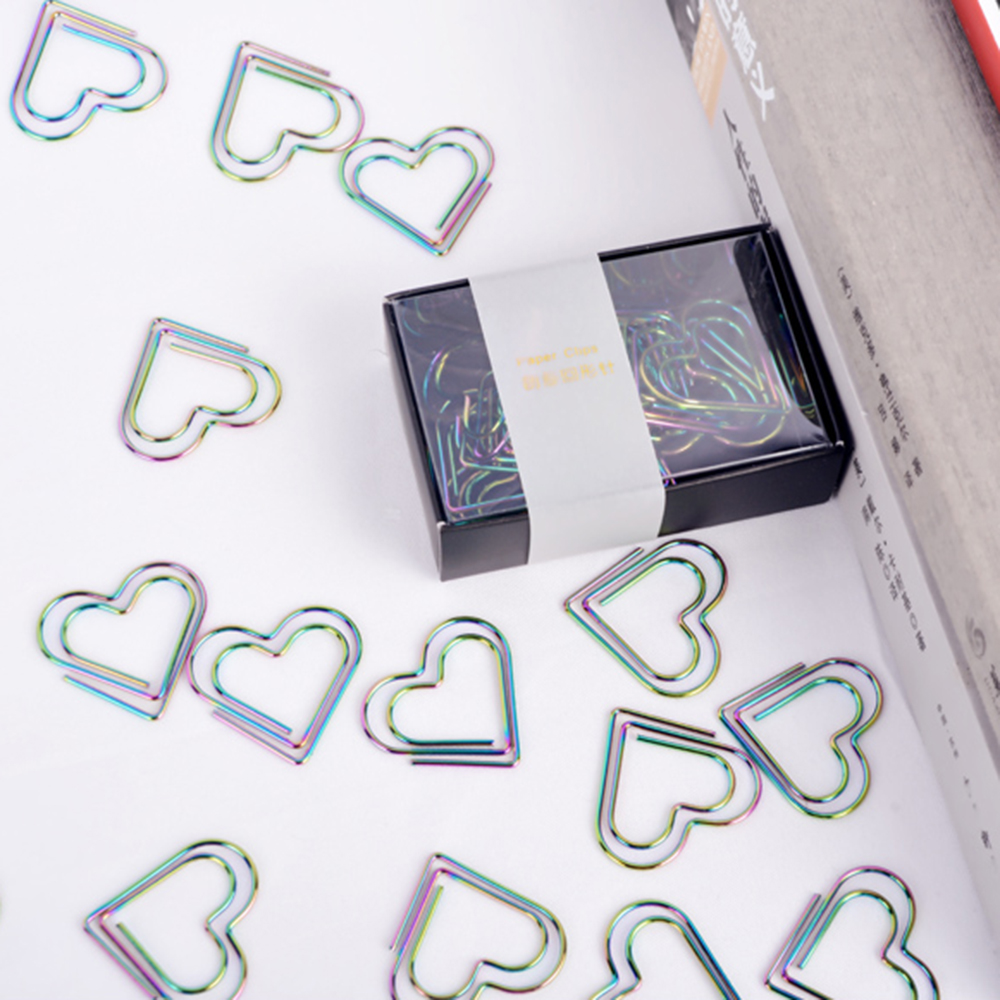 12Pcs/set Rainbow Heart Shaped Paper Clips Bookmark Planner Tools Scrapbooking Tools Memo Clip Metal Binder Paperclip