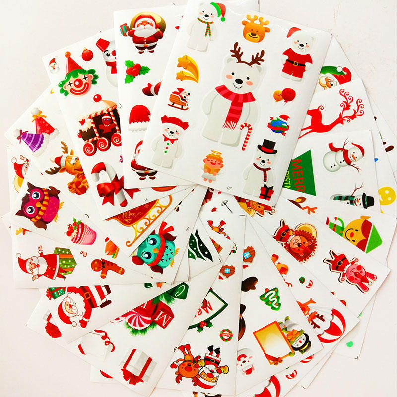 Merry Christmas paper sticker decor diy scrapbook sticker children stationery Environmental protection can remove glass stickers цены