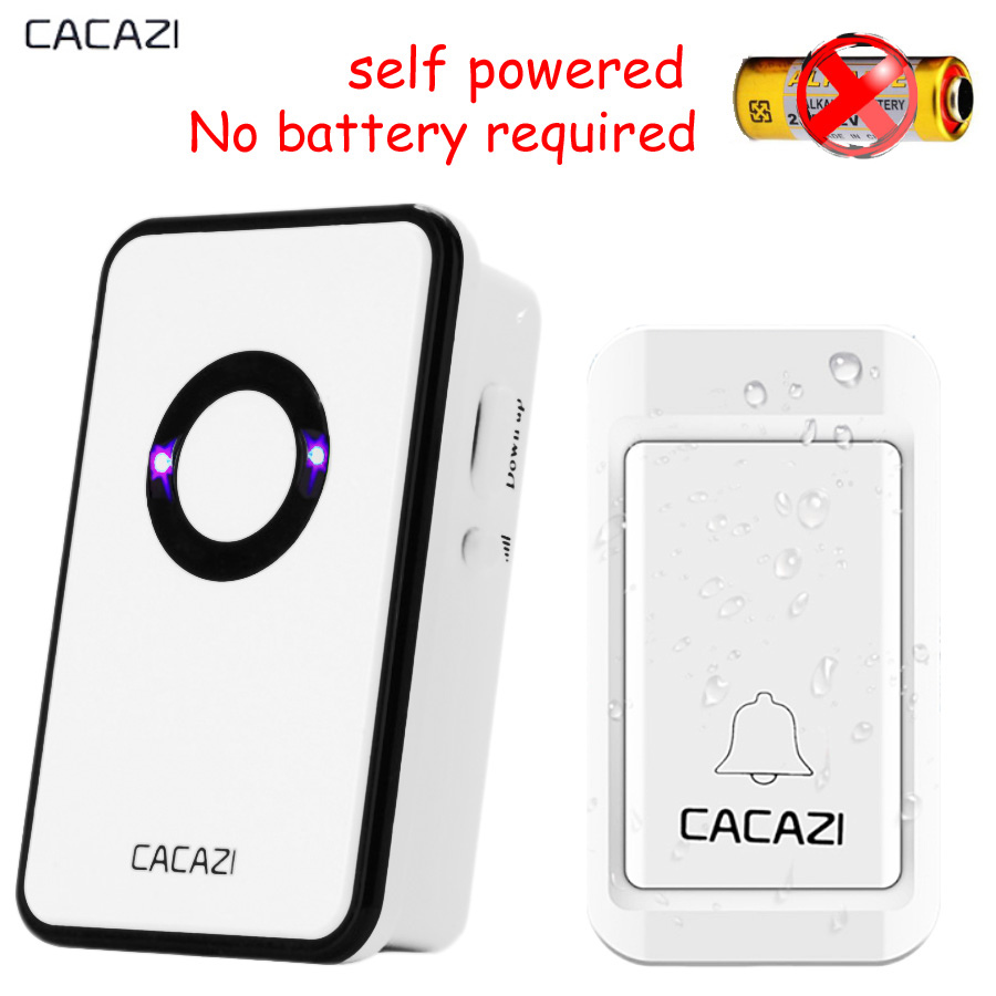 CACAZI No battery Wireless DoorBell self powered Waterproof Door Bell EU US plug AC 110v-220V 120M Remote 1 Button 1 receiver  2 push buttons 1 doorbell remote control wireless cordless door bell 38 ring tones no battery self powered button door bell