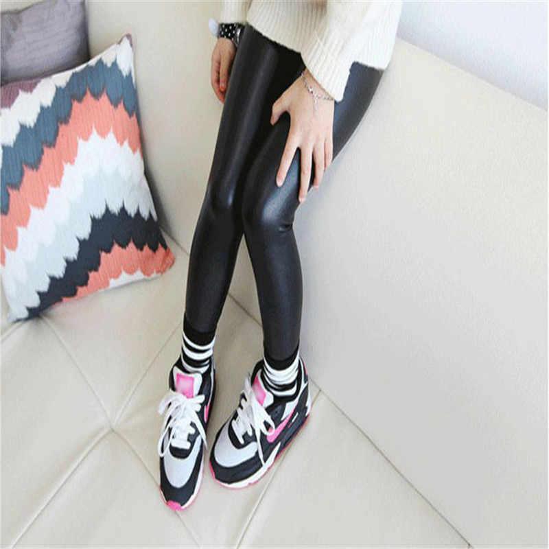 Sonbahar Kış Sıcak Satış Bebek Kız Çocuklar Sıkı Suni Deri Sıska Siyah Pantolon Tayt Pantolon Bebek Kız Giyim