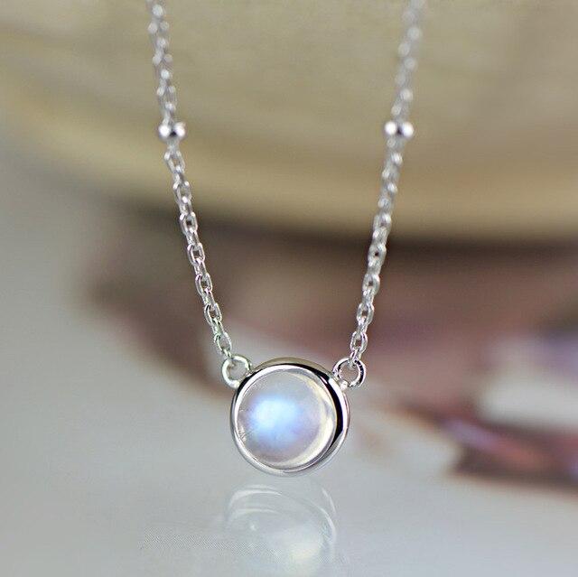 392199cdbf08 INATURE 925 collar gargantilla de plata esterlina piedra lunar Natural  colgante collares para mujer joyería