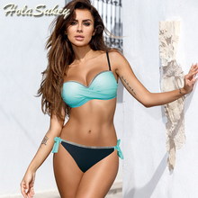 Push Up Solid Patchwork Swimsuit
