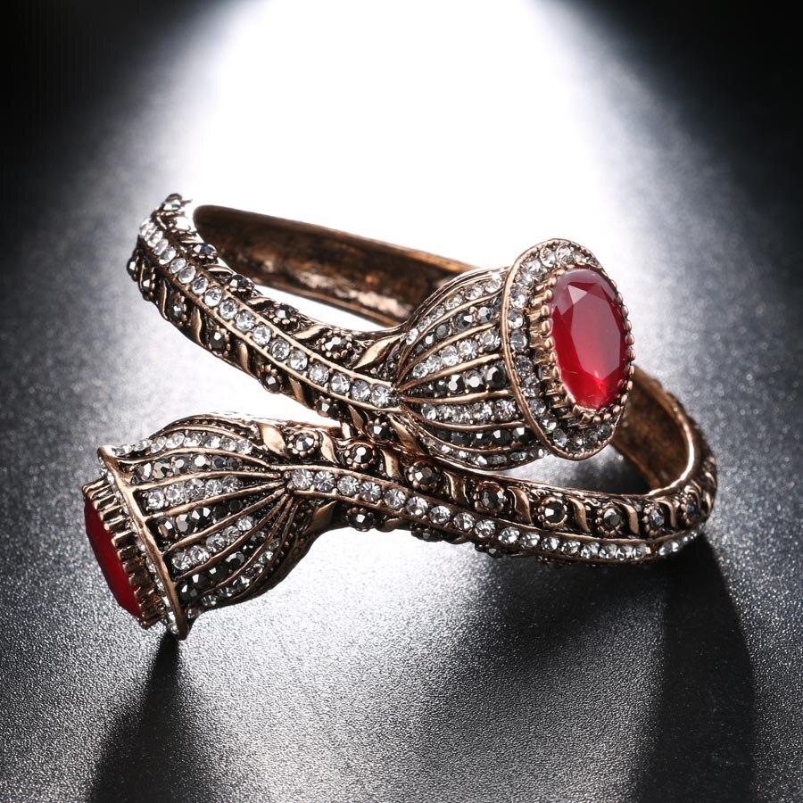Vintage Bilezik Kadınlar Için Antik Altın Renk Kırmızı Reçine - Kostüm mücevherat - Fotoğraf 5