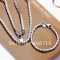 Envío Libre ¡ NUEVO!! la plata plateó la joyería 4 MM Cadena de Caja de Collar y Pulsera Conjunto de la boda