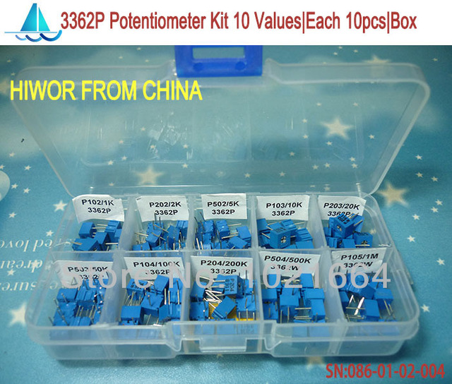 (100 pieces/lot)  3362P Multiturn trimming potentiometers kit, potentiometer pack high precision 3362 variable resistor + box