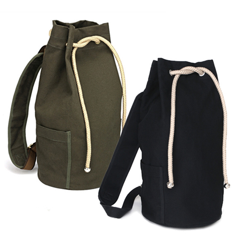 Fashion Drawstring Canvas Backpack Men Large Capacity Women Shoulder Bag Rope Travel Bag Bucket Bag ...