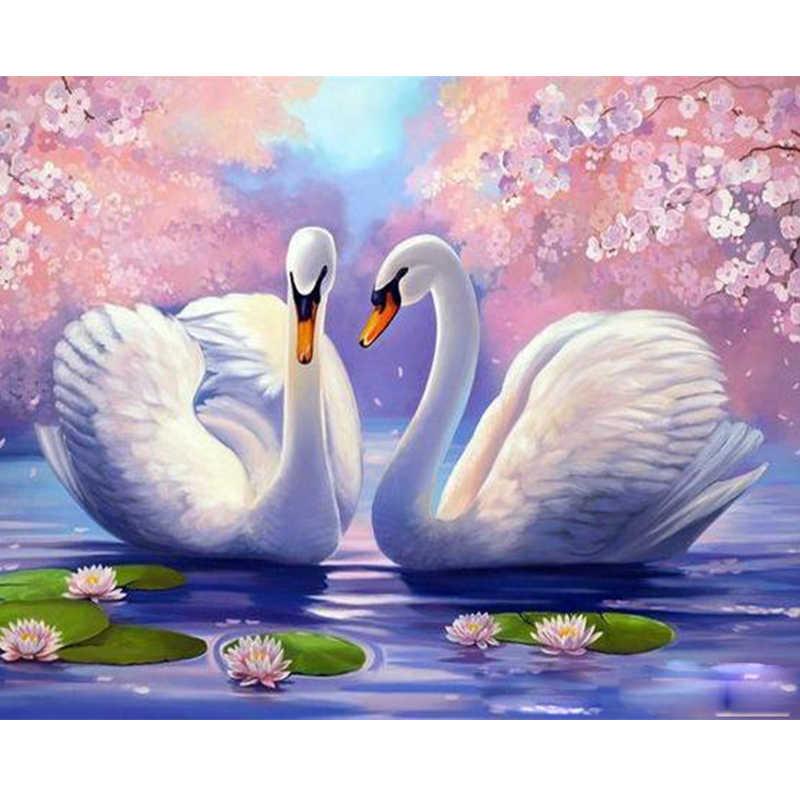 Лебедь любовь пара животных DIY цифровая картина маслом номера Современная Настенная живопись холст уникальный подарок на день рождения Домашний декор 40x50 см
