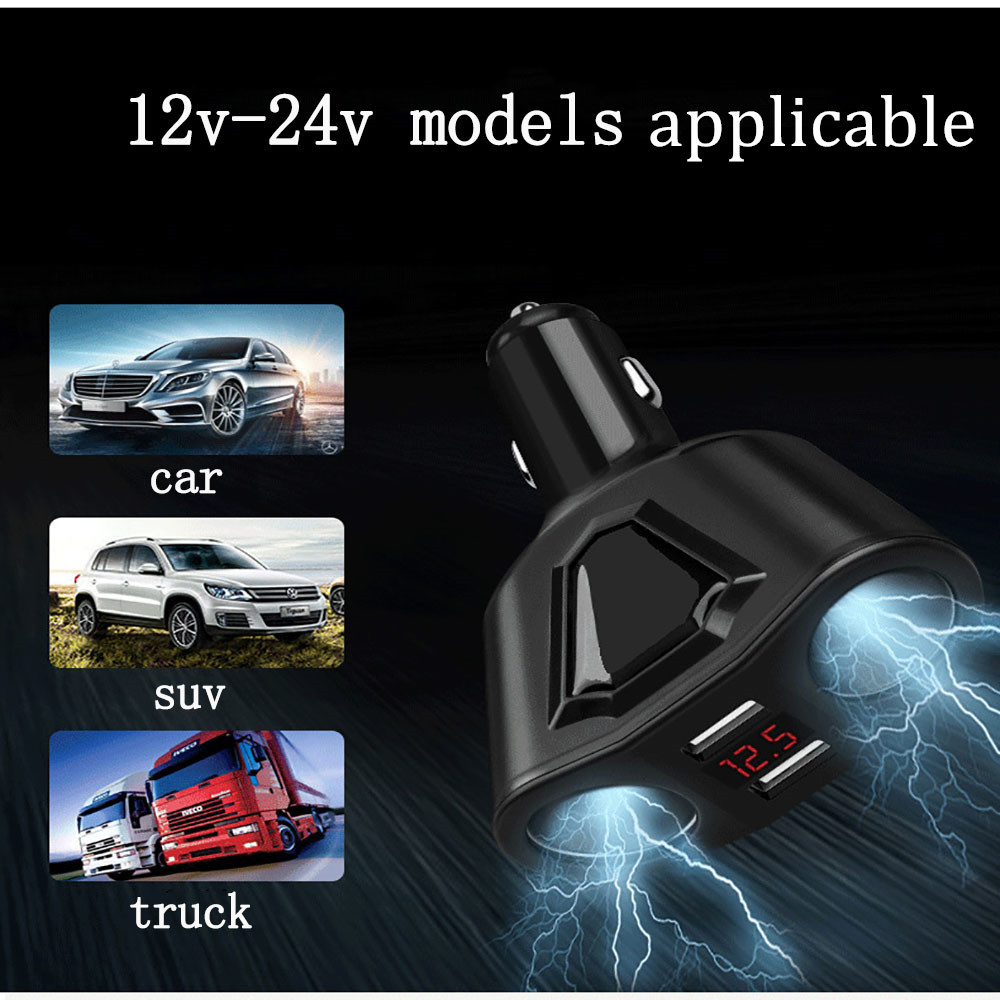 Dual USB Car Charger Digital Led Display 3.1A Car Charging Adapter Voltage Current Smart Car USB Auto Charger Mini Car-Charger