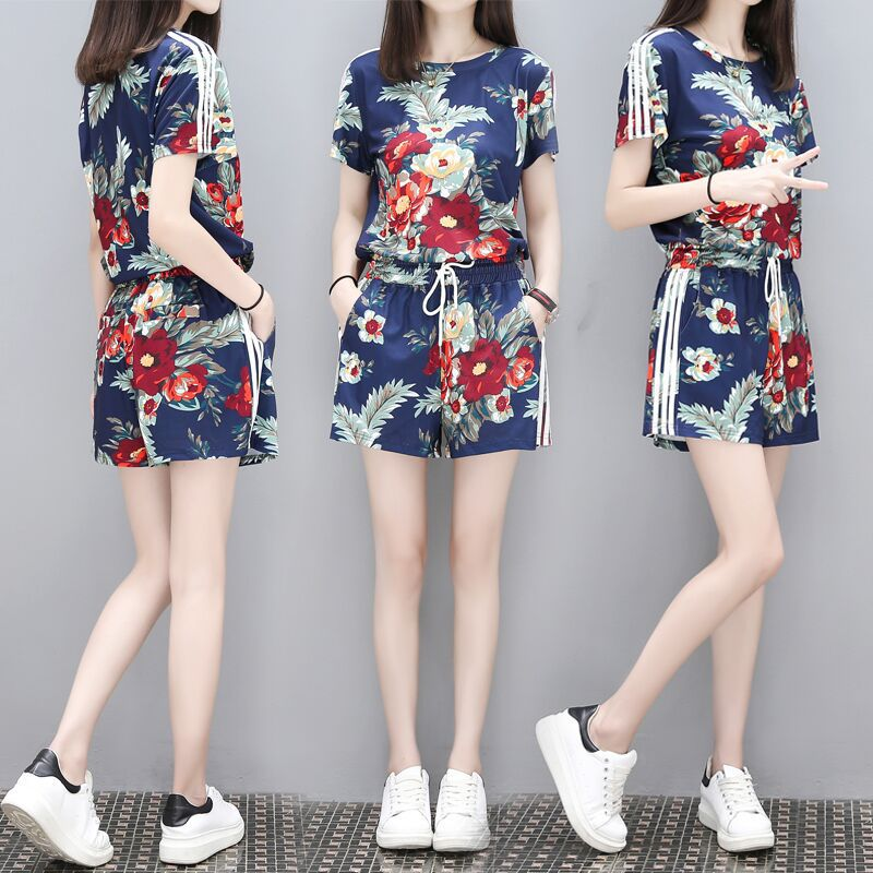 New two-piece fashion western shorts wide leg pants suit Chinese style women