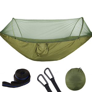 Image 2 - Pop Up Camping Hammock With Mosquito Net Portable Quick Set Up Hanging Sleeping Bed 250x120cm Outdoor Hamak Hamac 98*47