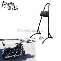 Black Motorcycle 20 Tall Version Detachable Sissy Bar Passenger Backrest Rest Pad For Harley Sportster XL883 XL1200 2004 2017