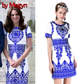 Por megyn verão princesa kate middleton dress apliques de manga curta azul branco imprimir estilo chinês parttem dress d730