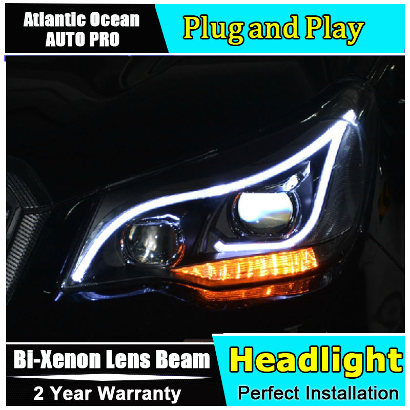 Car Styling For Forester headlights 2013 Forester Headlight Automobile angel eye led drl HID KIT Bi-Xenon Lens low beam