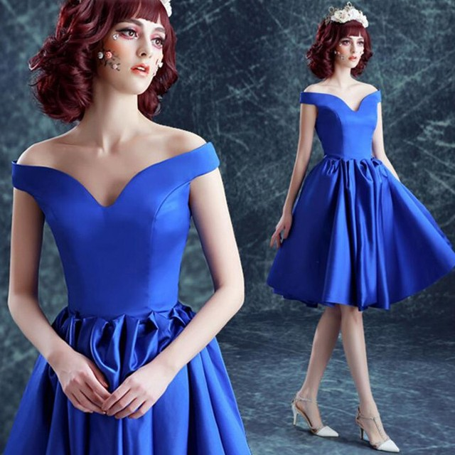 c96d8db3be07 Fashion Sexy Ball Gown Knee length Satin Off-the-shoulder Coctail Dresses  Royal Blue short dresses