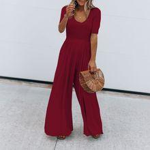 2019 Women Vintage Short Sleeve Jumpsuit Summer O Neck Long Wide Leg Solid Overall Jumpsuits Romper