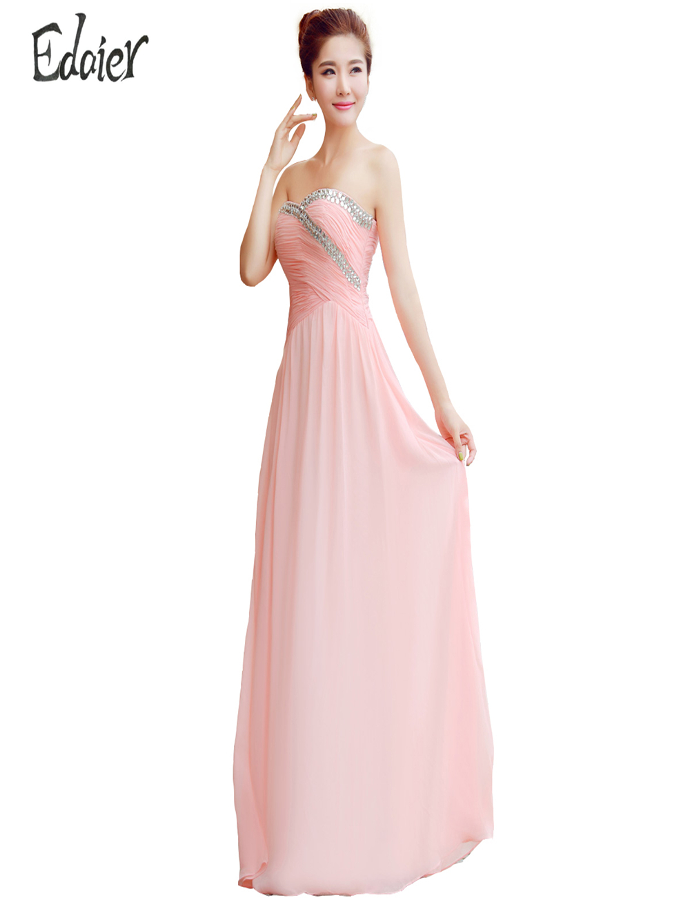 Popular light pink bridesmaid long dress buy cheap light pink 2017 bridesmaid dresses wedding party dress edaier strapless elegant light pink ruffled chiffon beaded long bridesmaid ombrellifo Image collections