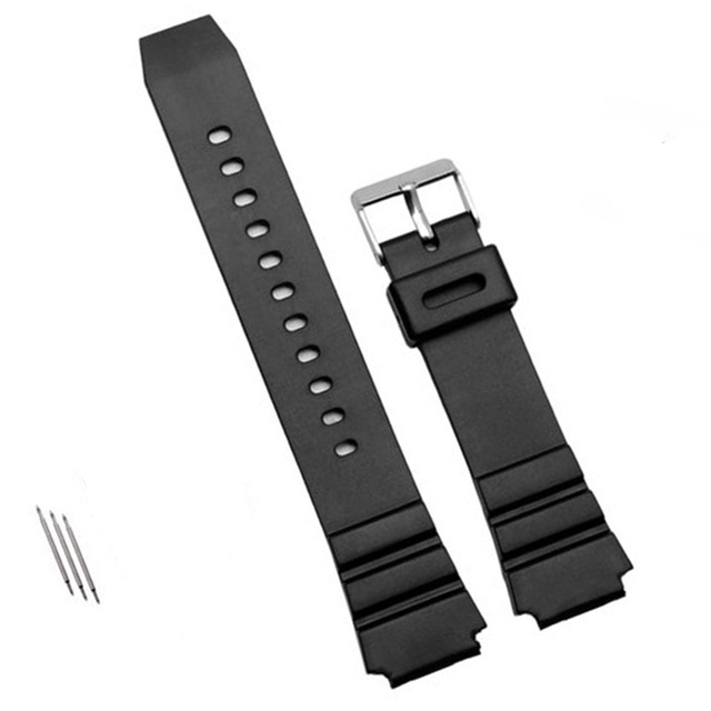 1pcs Watchband Silicone Rubber Band Men Sports Diving Black Strap For CASIO Repl