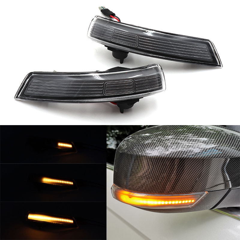 Niscarda 2X For Ford Focus 2 3 Mondeo Amber Dynamic Flowing LED Rearview Mirror Turn Signal