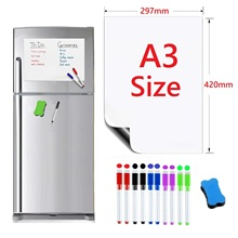 A3 Size Flexible Magnetic Whiteboard Fridge Magnets Dry Wipe White Board Writing Record Marker Pen Eraser Notepad
