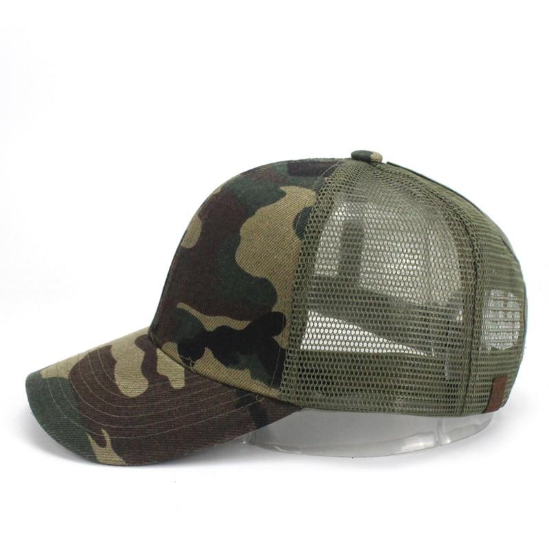 Ponytail Baseball Cap Women Messy Bun Baseball Hat Snapback Camouflage Mesh Cap Spring and Summer Camo Outdoor Hat 1