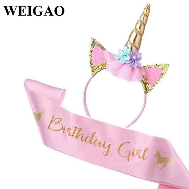 WEIGAO Birthday Girl Sash Satin Silk Sash with Unicorn Headband Girl 1st Birthday Party Decor Rainbow Unicornio Party Headbands