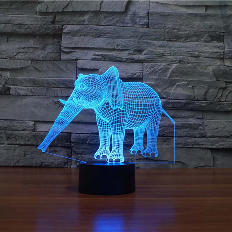 Amazing 3d Illusion Elephant Lamp LED Night Lights with 7 Colors Lamp as Home Decoration  Cute Gifts for Boys GirlsAmazing 3d Illusion Elephant Lamp LED Night Lights with 7 Colors Lamp as Home Decoration  Cute Gifts for Boys Girls