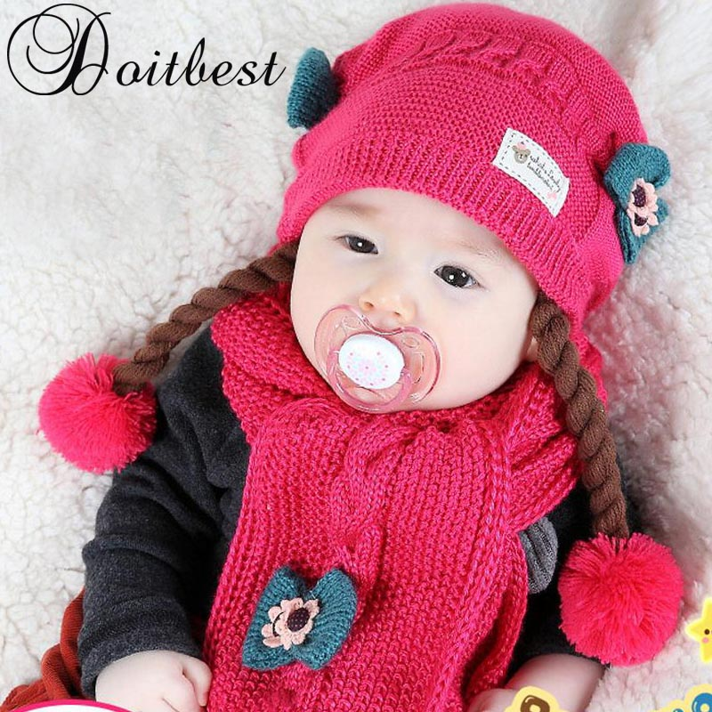 Doitbest Korean False Braids Child Knitted Hats Winter Two Flowers 2 Pcs Baby Girl Scarf Hat Set Age For 6 Months-2 Years Old