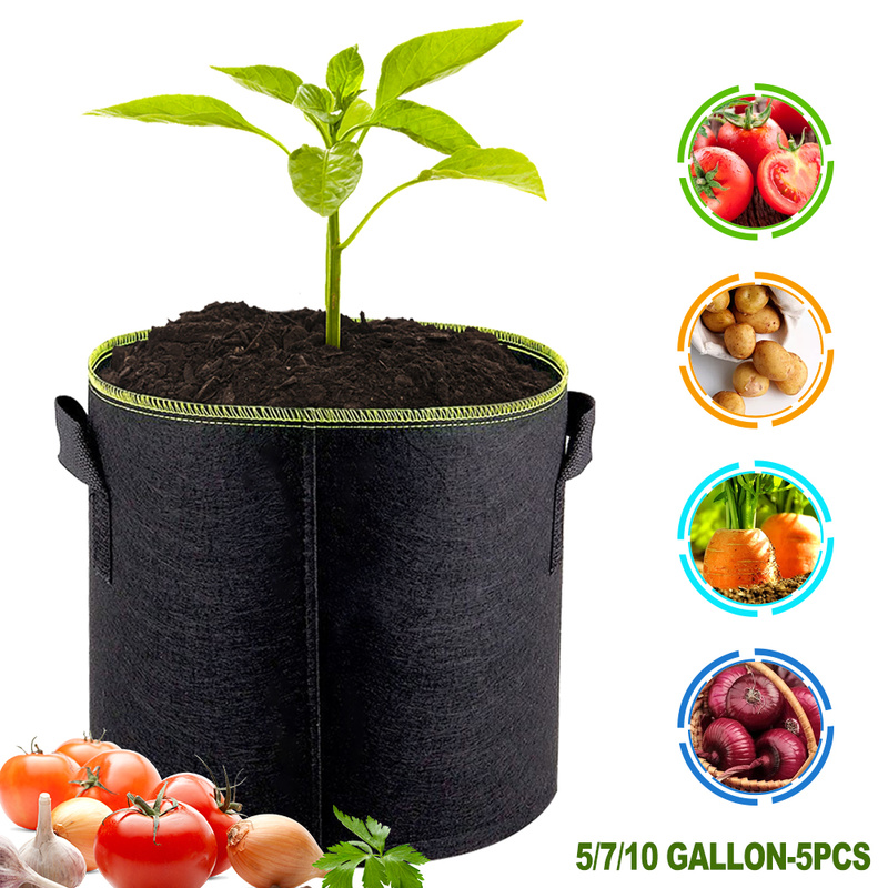 5pcs Felt Plants Growing Bag Vegetable Flower Potato Pot Container Garden Planting Basket Farm Home Grow Bags 5/7/10 Gallon