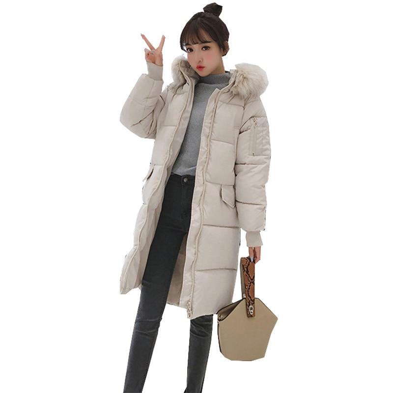 2019 New Autumn winter loose Women   parka   Outwear Coat Jacket long sleeve Knee length Medium length Thick warm Fashion Cotton C21