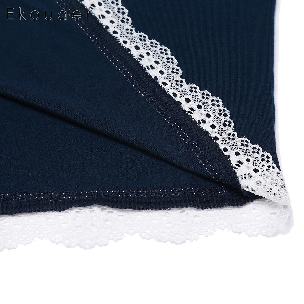 Ekouaer Women Sleep Bottom Pants Nightwear Soft Lace Trim Elastic Waist Plus Female Pajamas Short Pants Sleepwear Plus Size 4