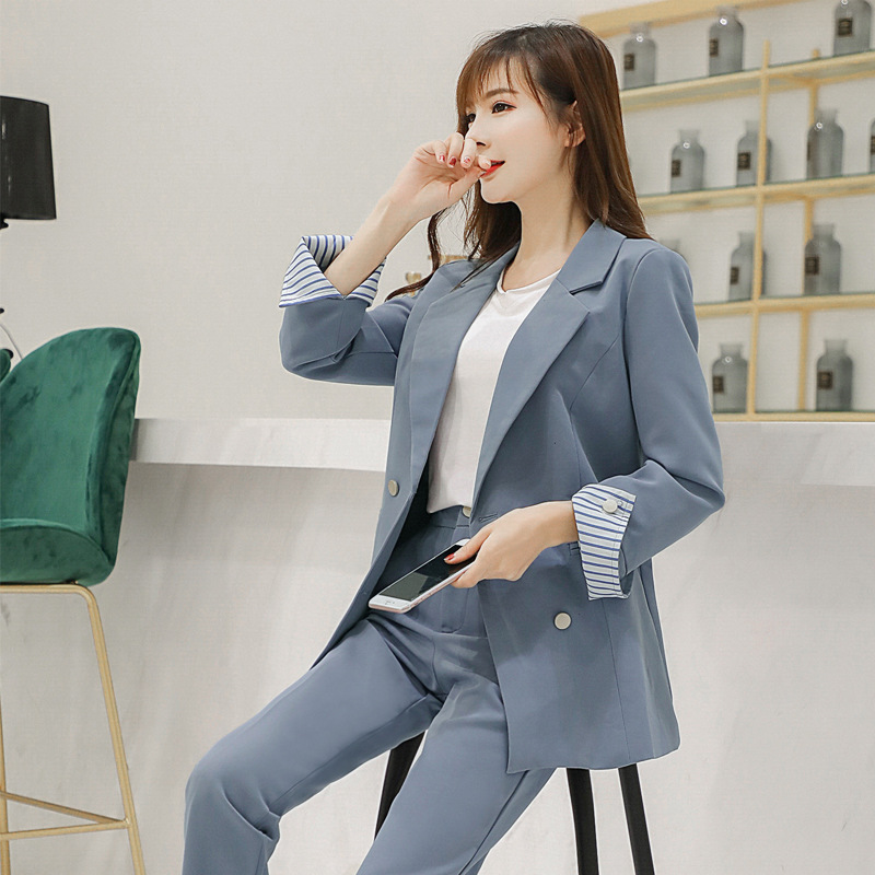 Women's suits fashion slim solid color suit trousers two-piece 2018 autumn and winter new casual temperament long-sleeved wild