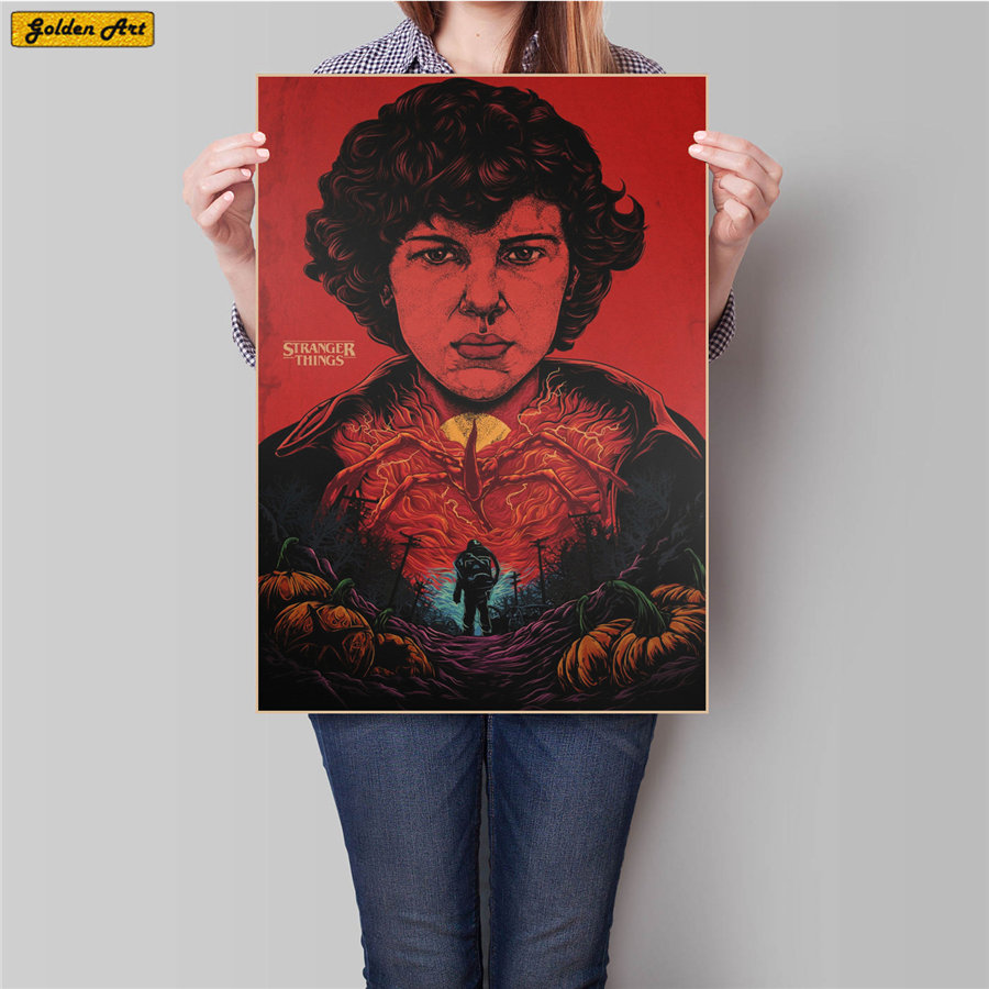 Stranger Things 2 Movie Vintage Kraft Paper Poster Print Painting Living Room Bar Cafe Home Classic Decoration 45.5x31.5cm