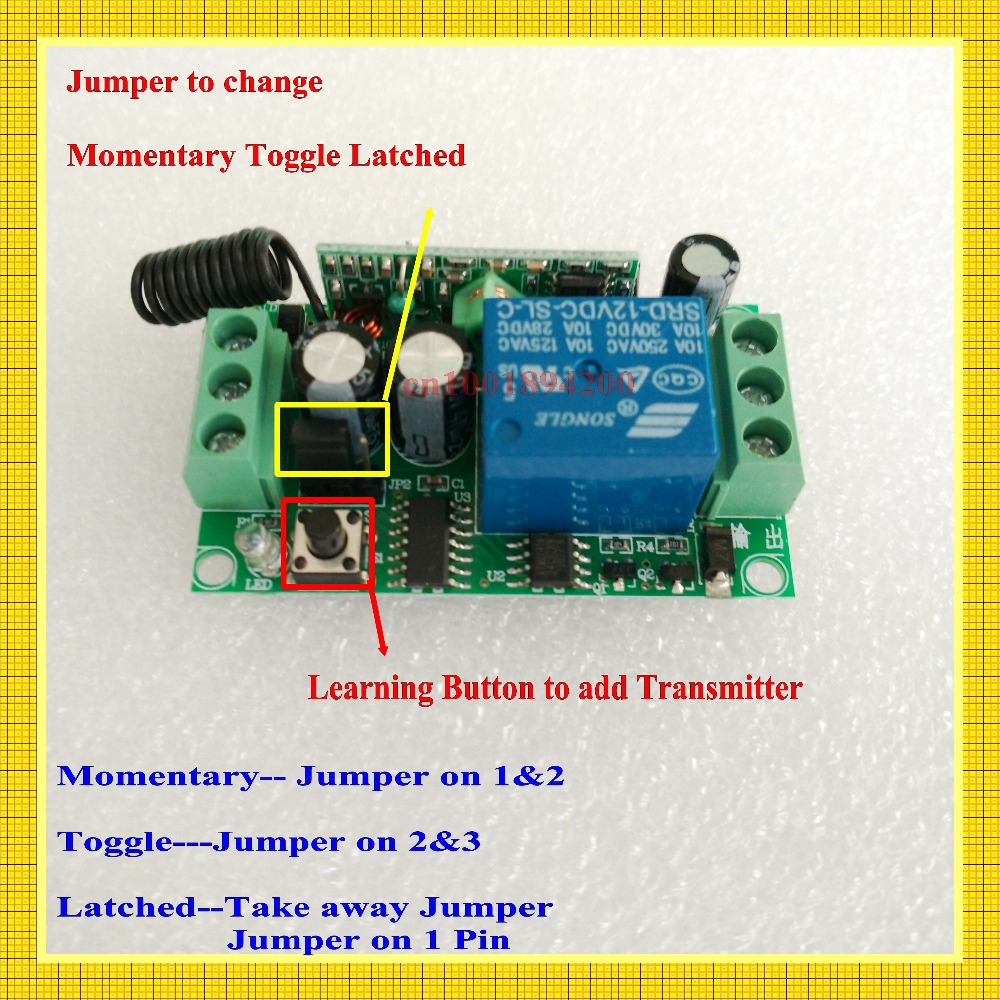 Remote Control Switches 12v Dc 1ch Relay Receiver Transmitter Power Latching Waterproof Learning Momentary Toggle Latched Wireless On Off In From Lights